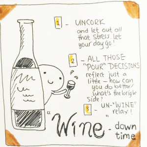 The Wine and Relaxation Spread - Pitch by Lorraine Bull1-Uncork: Let out all that dress. Why do you deserve to relax right now?2- All those