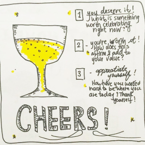 Champagne Bubbles Self Love Spread - Pitch by Jenny Skuse1-You deserve it: What is something worth celebrating right now?2-You're worth it! How does this affirm and add to your value?3-Appreciate yourself! How have you worked hard to be where you are today? Thank yourself!