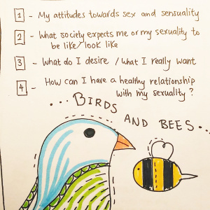 Birds and the Bees Spread - Pitch by Brit Ta Ny1-My attitude towards sex and sensuality2-What society expects me or my sexuality to be like or look like3-What do I desire/What I really want (how can I stay true to what I really what?)4-how can I have a healthy relationship with my sexuality?