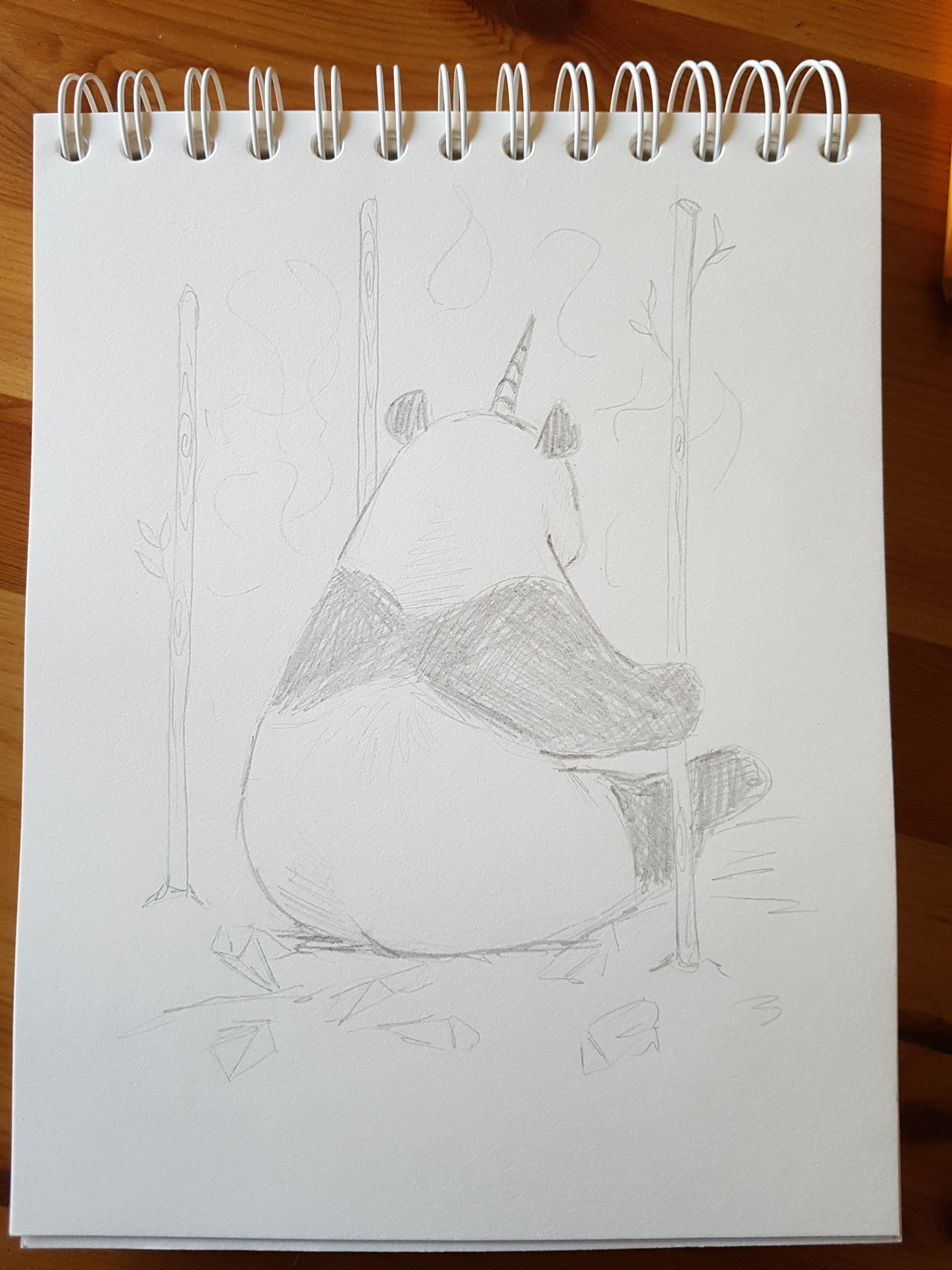 """Artist Sketch for """"3 of Wands"""" - the panda with a magical unicorn horn is surrounded by sparkly crystals, looking excitedly into the future and ready to manifest his dreams. Pamela Chen (creator of Crystal Unicorn Tarot) is one of the people that inspired me to begin creating this deck and I am grateful that she helped me unlock the panda potential for this deck. This is the artist sketch done by Celia - after I conveyed my concept to her!"""
