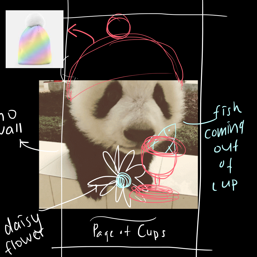 """Concept Drawing for """"Page of Cups"""" - This is how I communicate with my artist! At first, I was having a hard time describing where things are going to be and how everything is going to be positioned in relation to the panda. Eventually I was like, hey, I have a graphic tablet - why don't I just doodle over the panda photo!? So I did. What I would do is - I would look for a photograph of a panda in real life that I want to use for the particular card I am concepting - and then I would doodle over it to convey my idea to my artist. Sometimes I would include pictures of clothing items (as you can see above) for the panda to """"wear"""" in the final illustration. Page of Cups is the cutie-pie, and as soon as I saw this photo of a panda cub close-up - I knew she was going to be my Page of Cups. I remember telling my artist: """"Emphasis on the CUTE NOSE, her nose must be REALLY CUTE."""""""