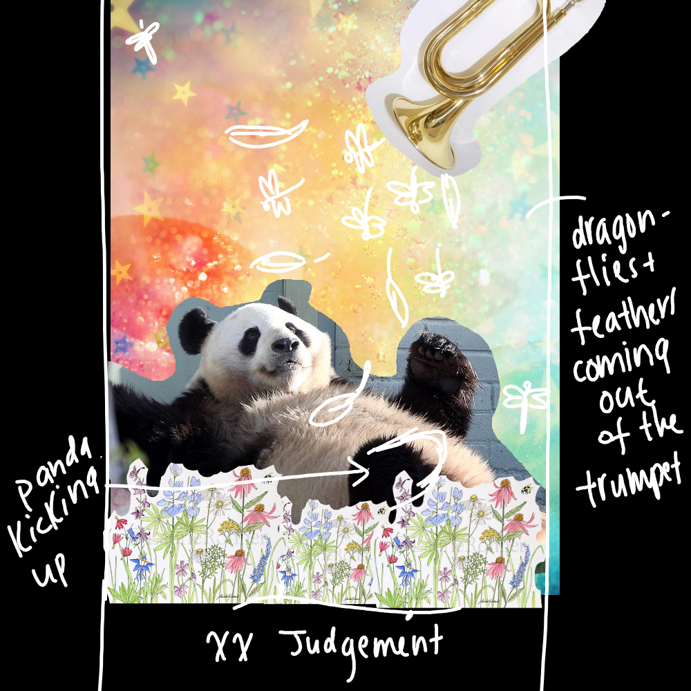 """The concept drawing for """"Judgement""""…instead of the usual solemn and slightly religious tone, Judgement for me has always been about awakening and divine timing. It may come as a surprise or even a disaster - but it is always aligned with our highest good."""