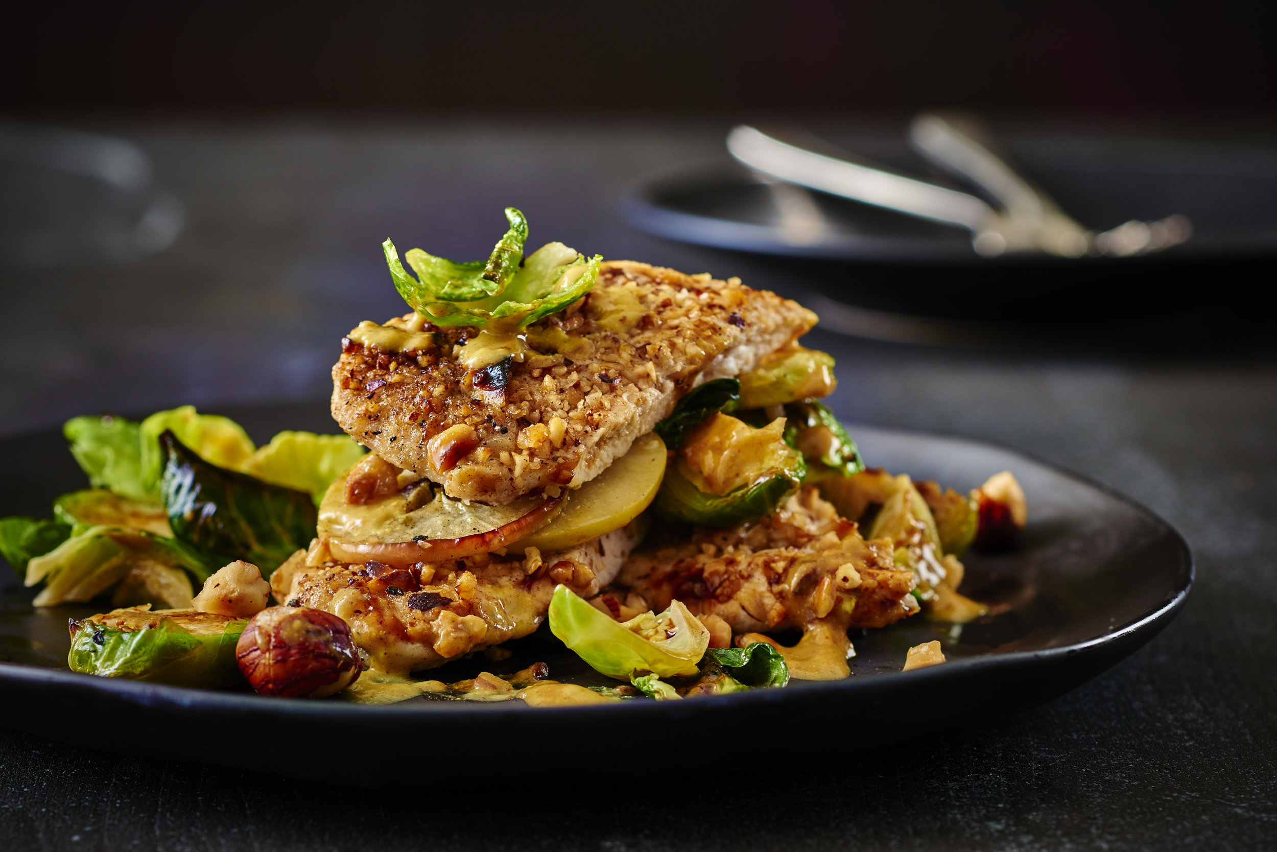 Nut Encrusted Chicken Breasts with Fava Beans
