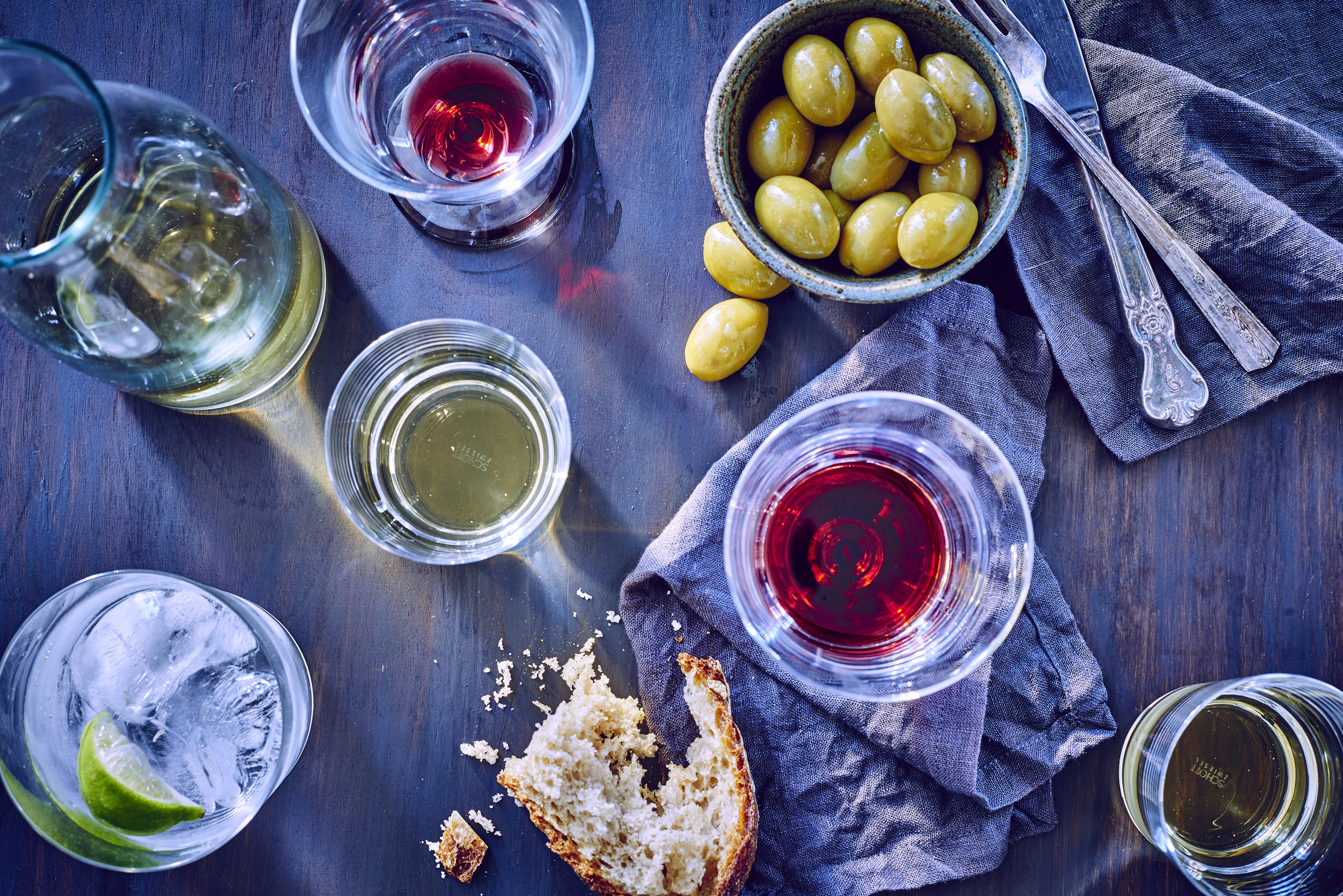 Wine and Olive Table