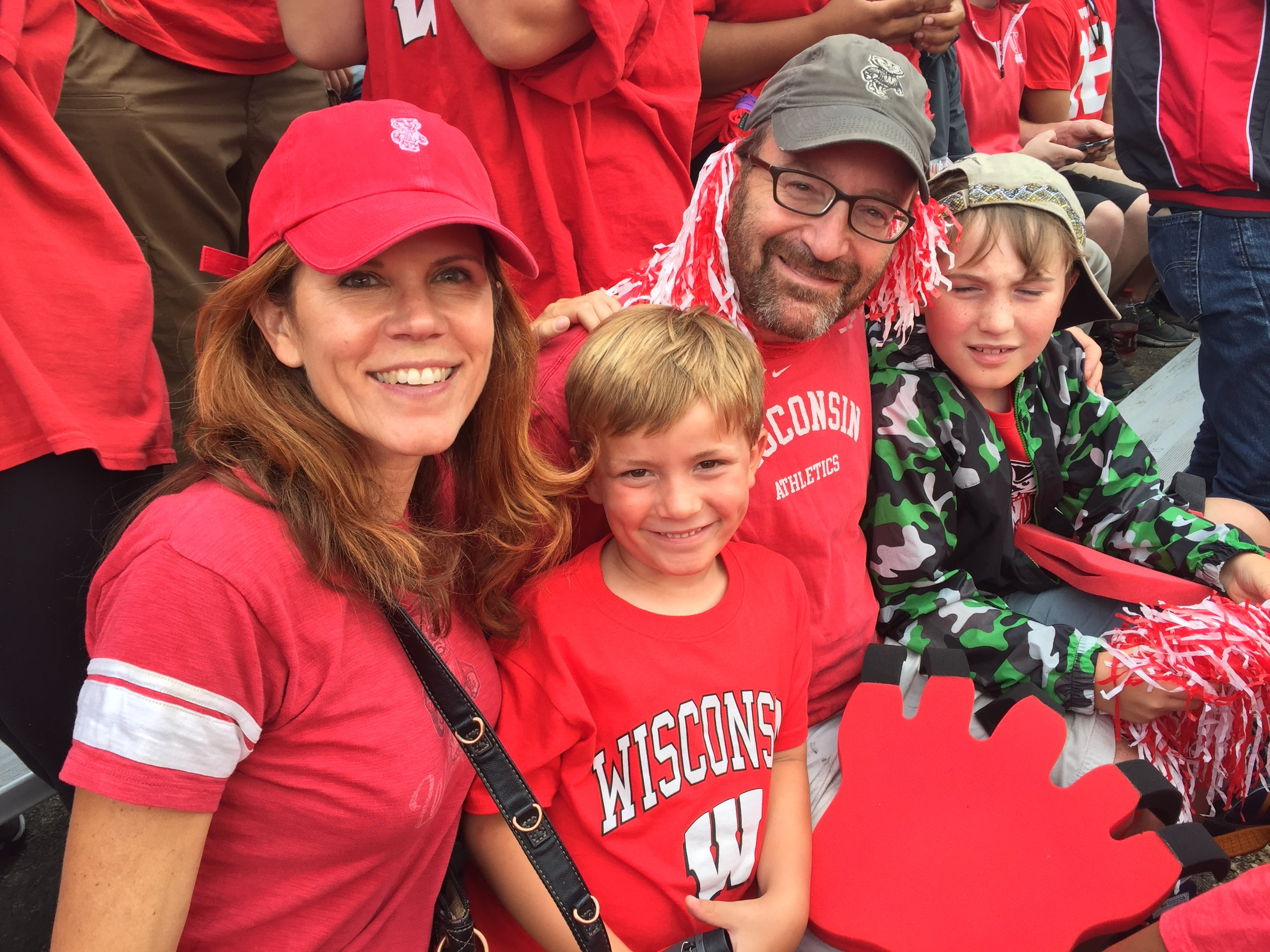 Chris Taylor and her family at a UW-Madison football game.