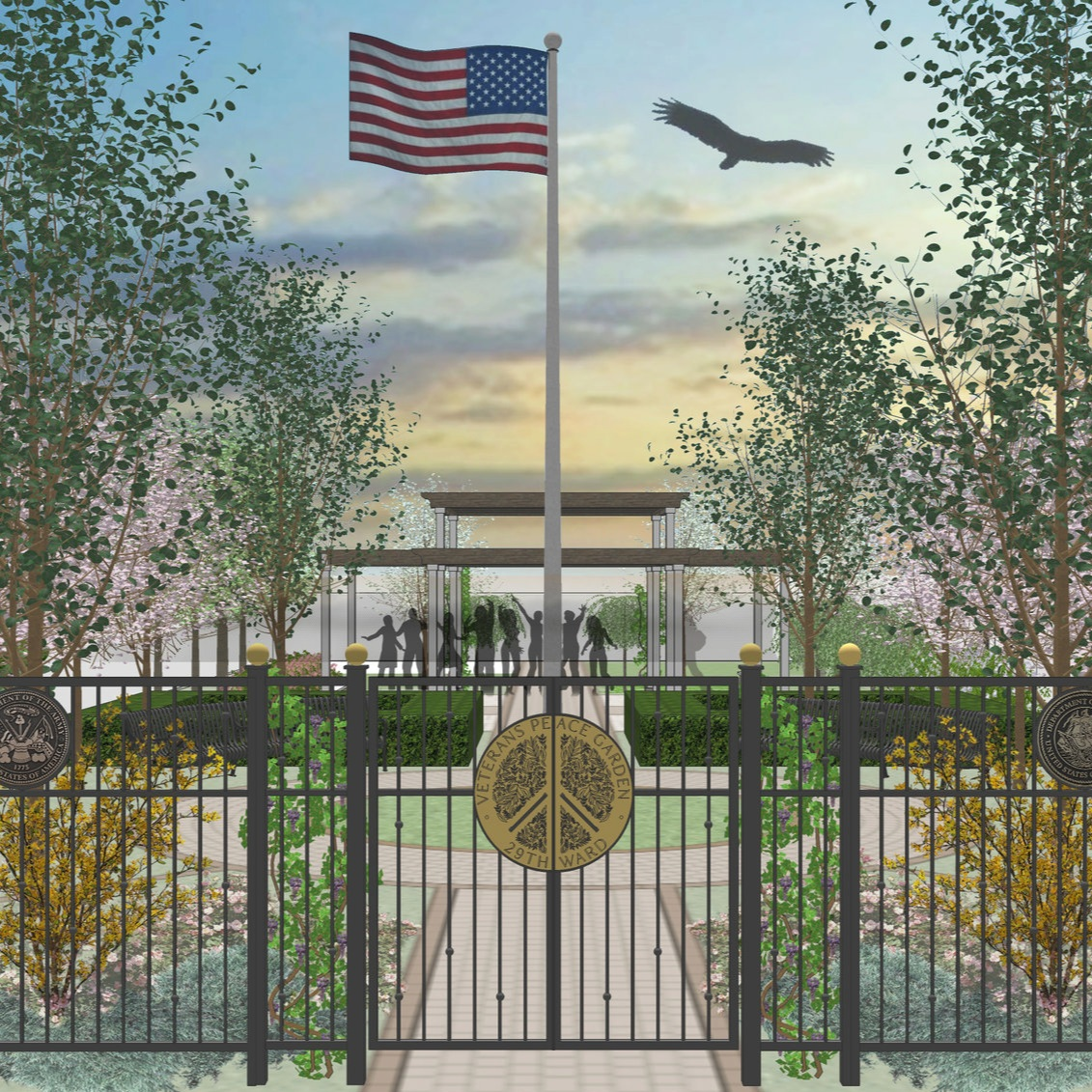 VETERANS PEACE GARDEN  Landscape Design + Build  Chicago, Illinois