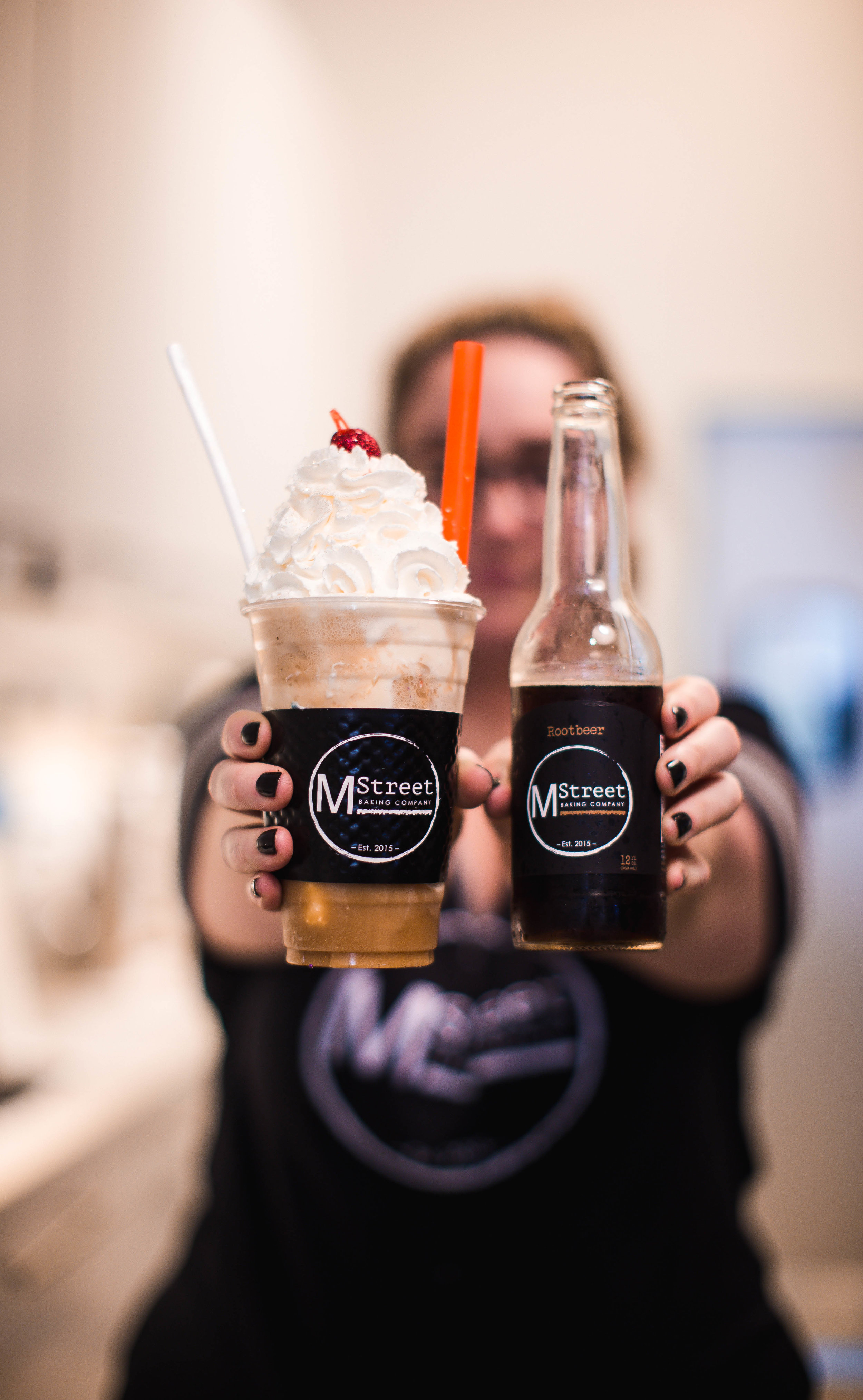 """The """"M Street Floats"""" are made with vanilla ice cream and a soda of your choice:  Root Beer, Cola, Black Cherry, Orange"""
