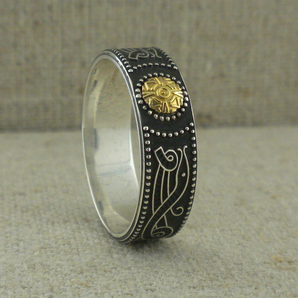 Celtic Warrior Shield Wedding Ring with 18K Bead