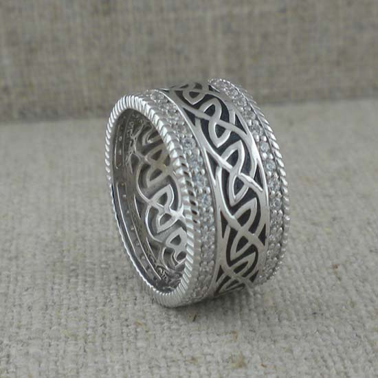 Celtic Knot Wedding Ring with CZs