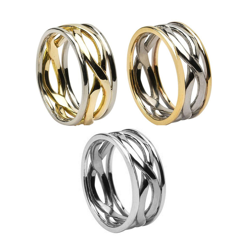 Men's Celtic Infinity Knot Wedding Ring with Trim