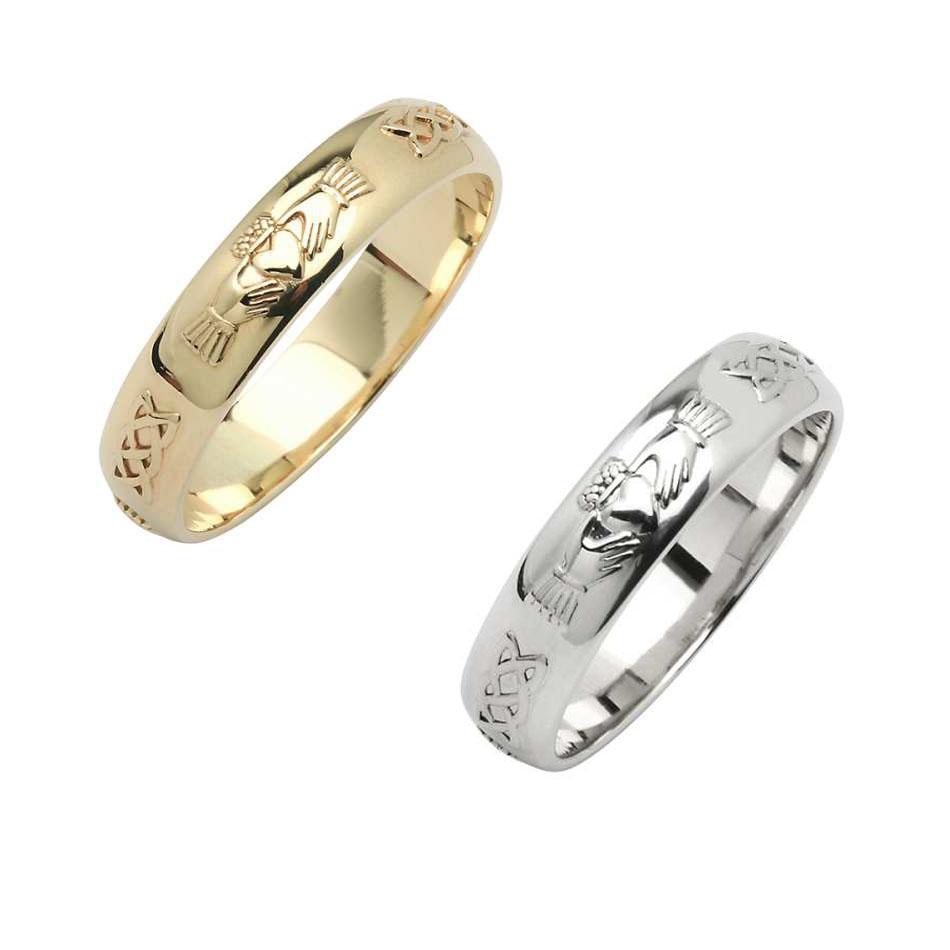 Men's Domed Corrib Claddagh Wedding Ring