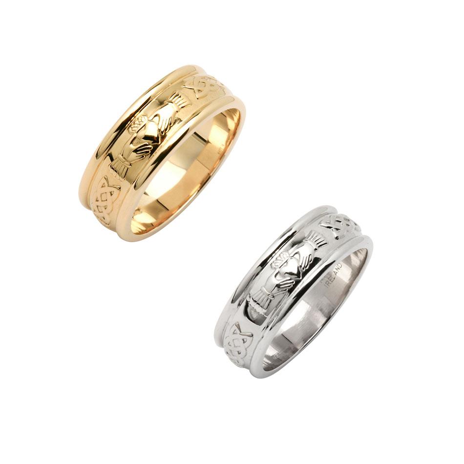 Men's Wide Corrib Claddagh Wedding Ring
