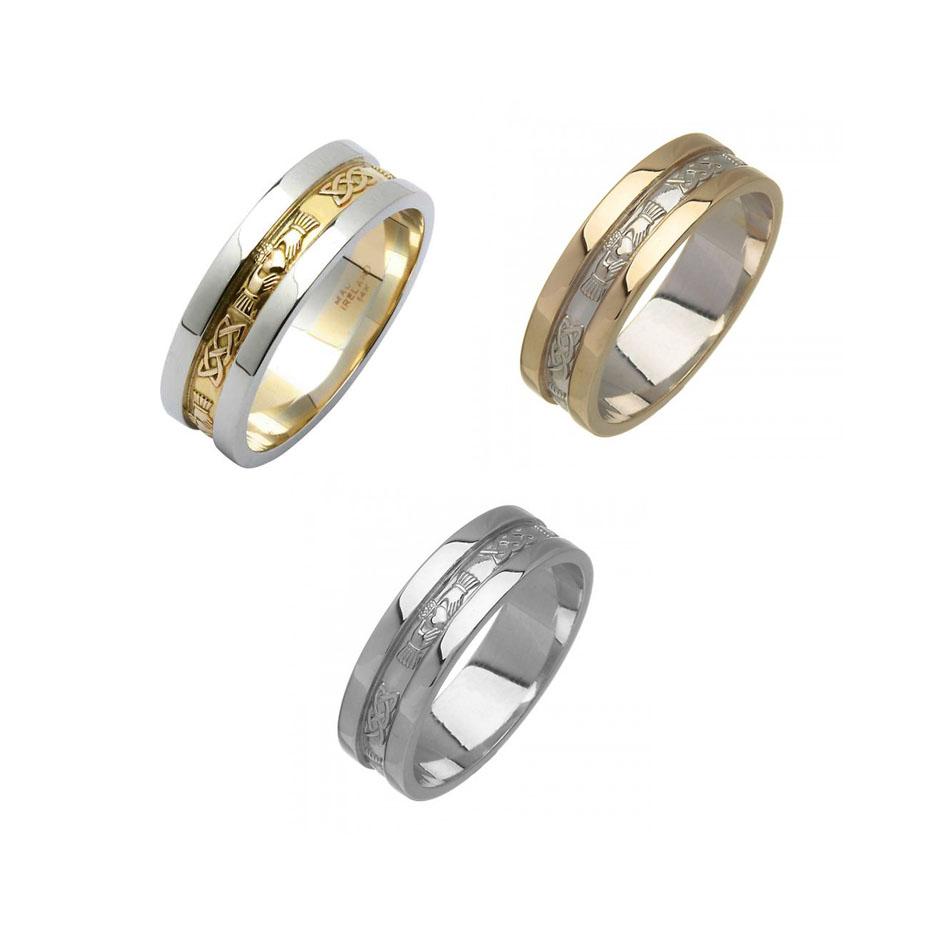 Ladies Wide Corrib Claddagh Wedding Ring