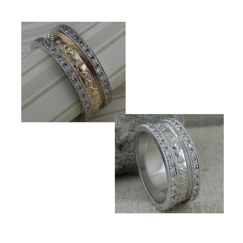 Ladies Pave Corrib Claddagh Wedding Ring