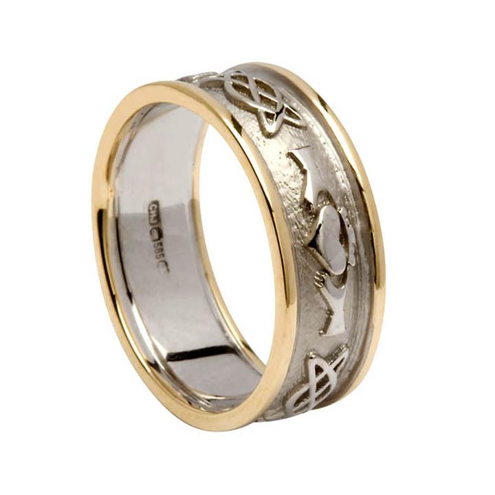 Men's Celtic Claddagh Wedding Ring with Trim