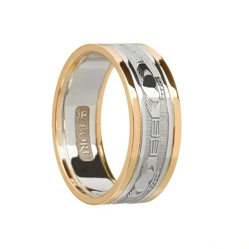 Ladies Silver Claddagh Wedding Ring with Trim
