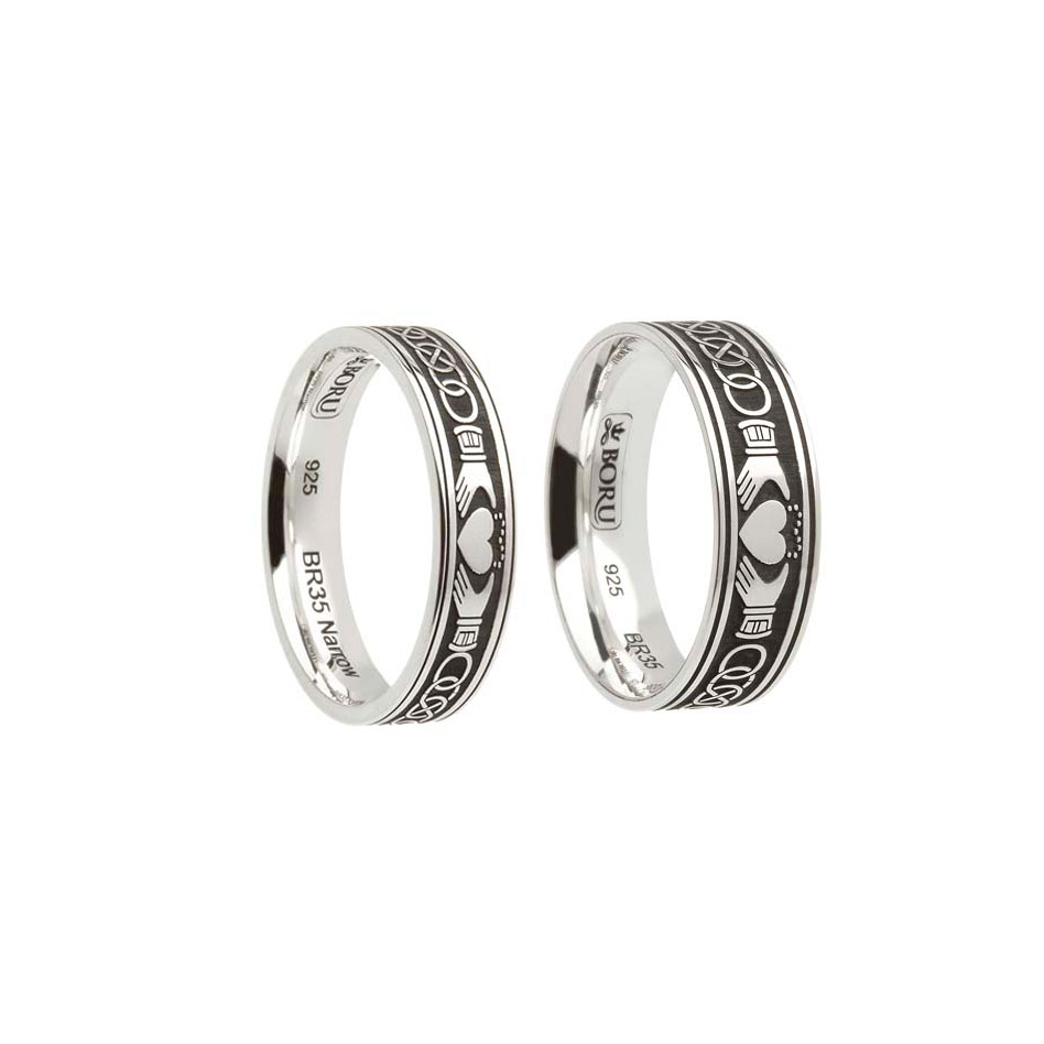 Sterling Silver Celtic Claddagh Wedding Ring