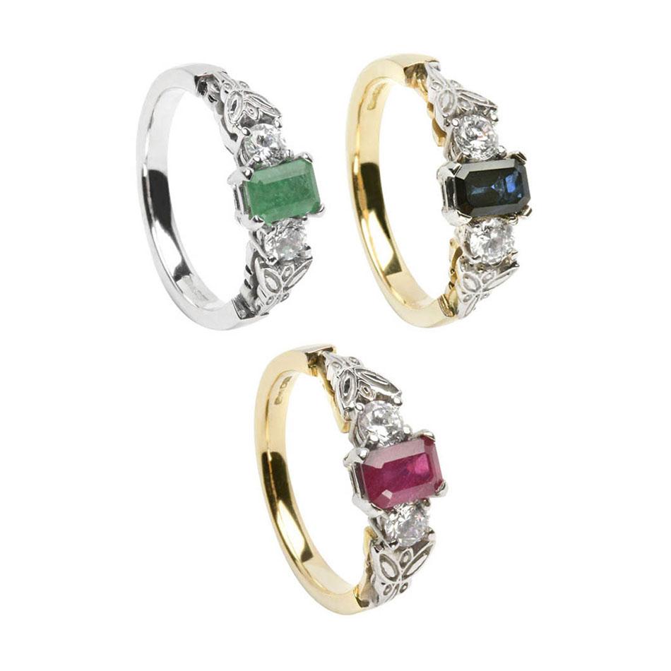 Three Stone Celtic Engagement Ring