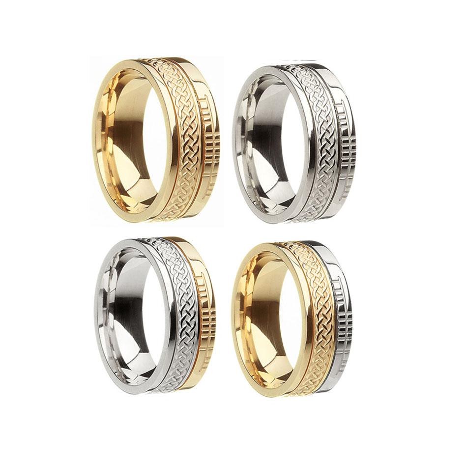 Celtic Weave Wedding Ring with Faith Rail Edge