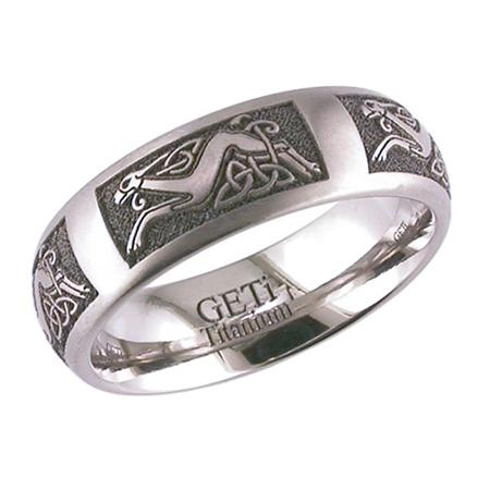 Celtic Hound & Trinity Knot Wedding Ring