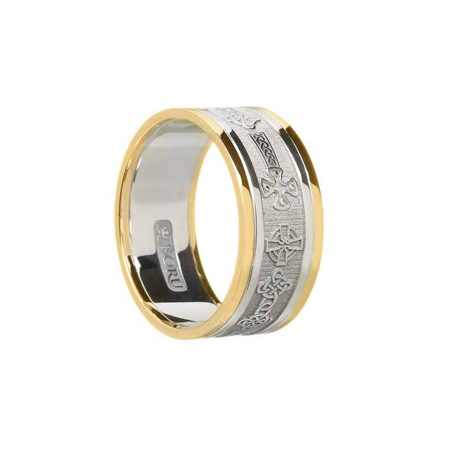 Sterling Silver Men's Celtic Cross Wedding Ring with Trim
