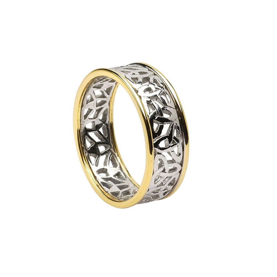Men's Sterling Silver Trinity Knot Wedding Ring with 10K Trim