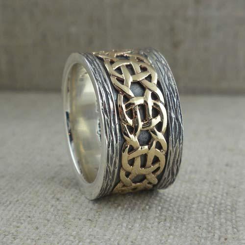 Celtic Weave Wedding Ring with Bark Edges