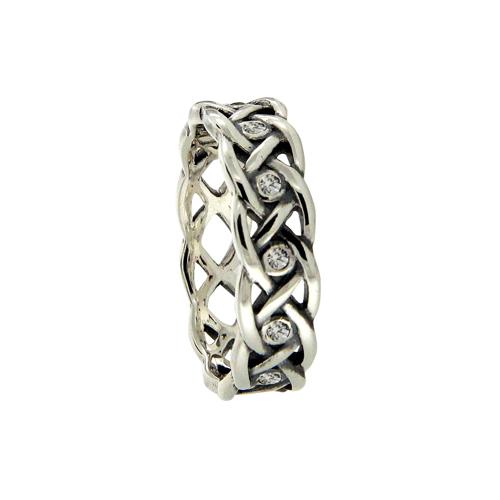 Celtic Knot Wedding Ring with Bezel Set CZs