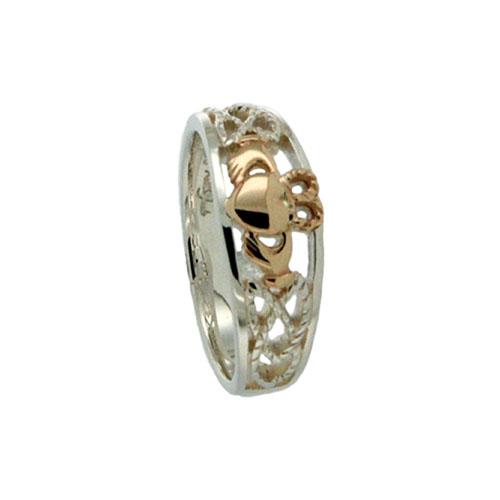 Sterling Silver & 10K Claddagh Wedding Ring