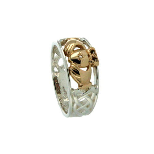 Sterling Silver & 10K Claddagh and Celtic Knot Wedding Ring