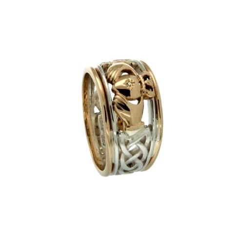 Wide Sterling Silver & 10K Claddagh Wedding Ring