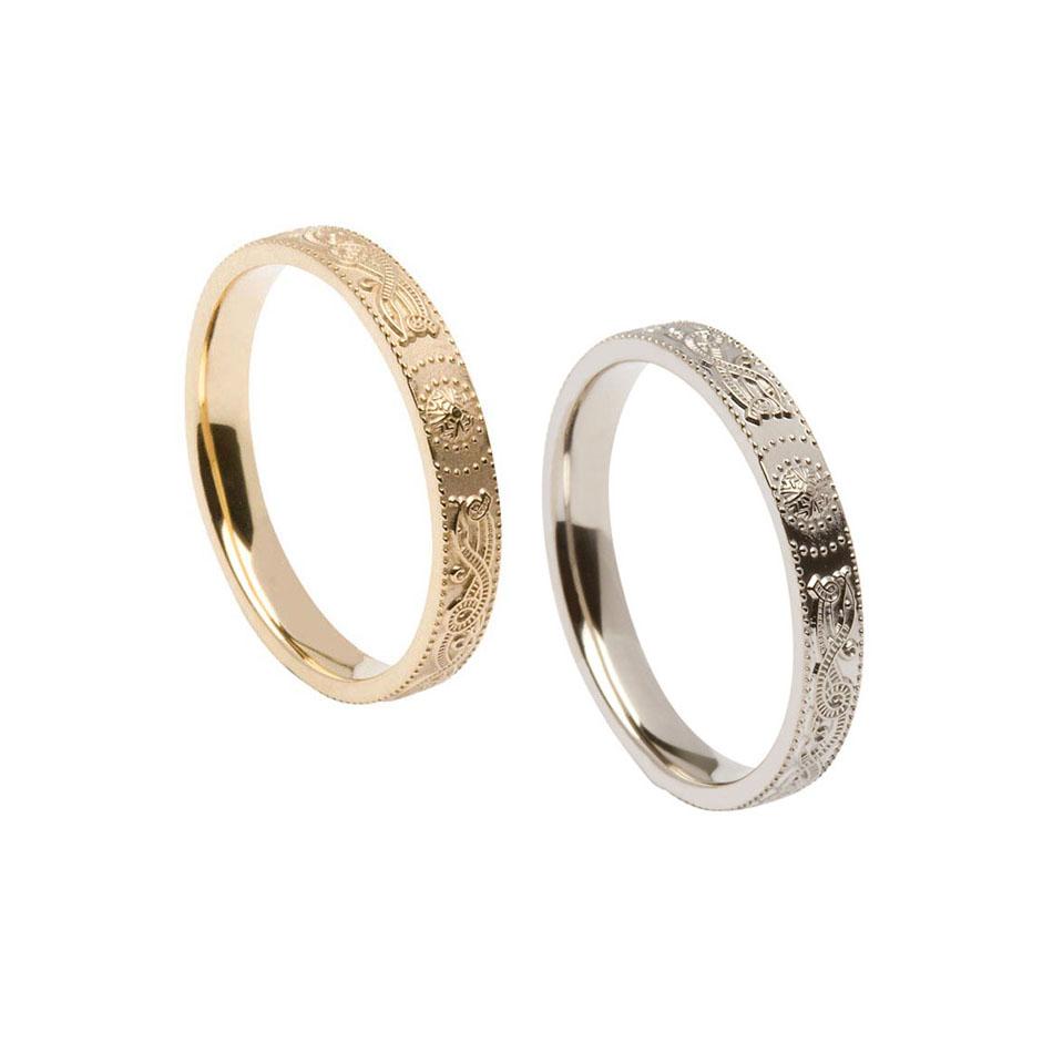 Ladies Comfort Fit Celtic Warrior Shield Wedding Ring