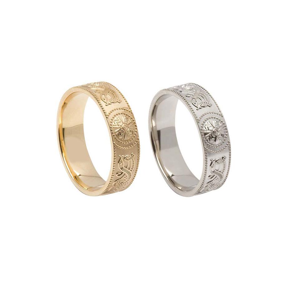 6 mm Comfort Fit Celtic Warrior Shield Wedding Ring