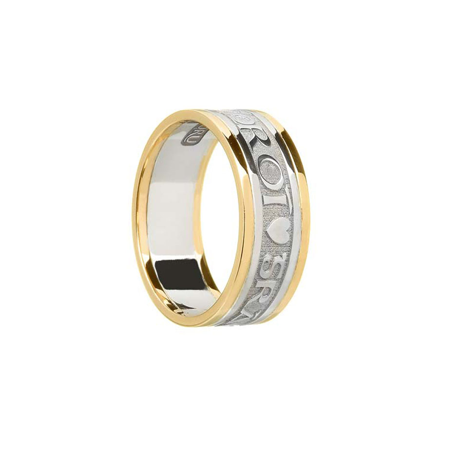 Ladies Sterling Silver Bright Love of My Heart Wedding Ring with Trim