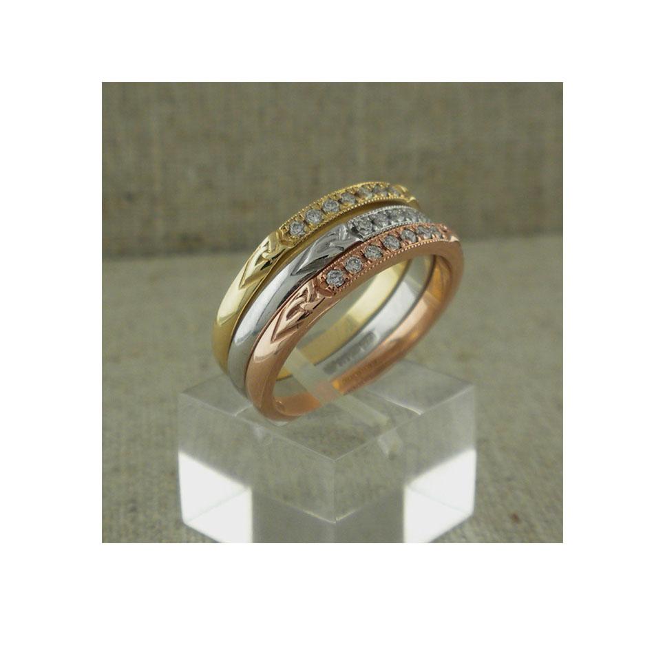 Narrow Diamond Trinity Knot Wedding Ring