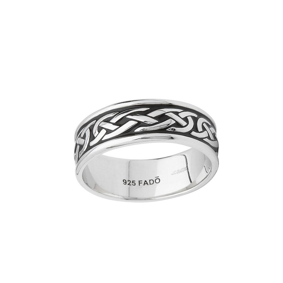 Celitc Knot Wedding Ring with Black Enamel