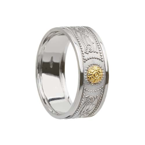 Celtic Warrior Shield Wedding Band with 18K Bead