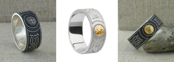 Celtic Warrior Shield Wedding Rings with 18K Bead
