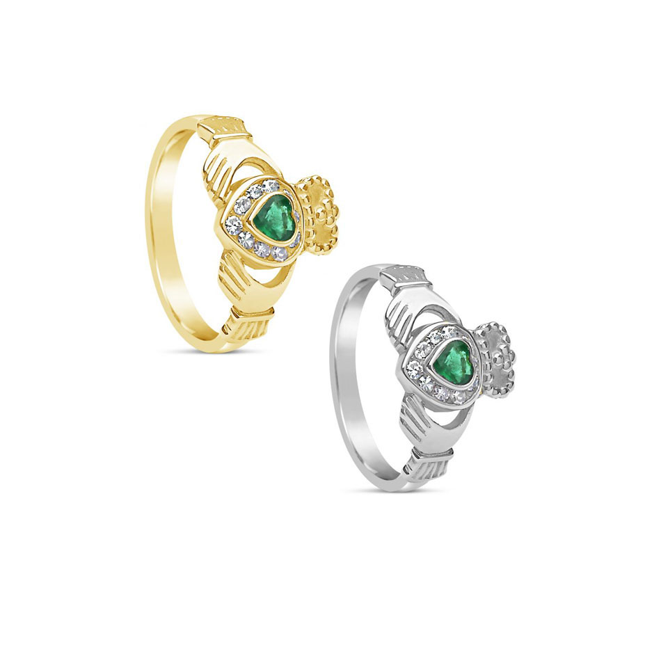Claddagh Rings with Emerald and Diamonds