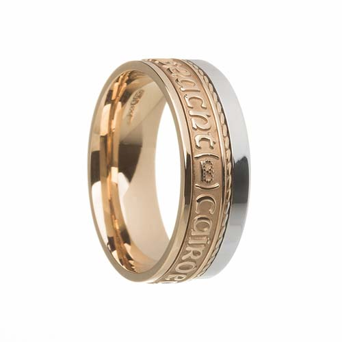 Gra, Dilseacht, Cairdeas Wedding Ring 7.5 mm with Rail Edge