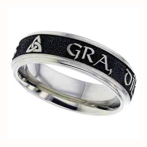 Gaelic Love, Loyalty, Friendship Wedding Ring in Titanium