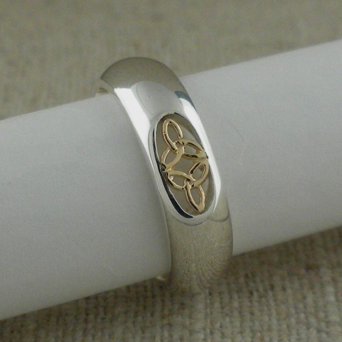 Sterling Silver & 10K Trinity Knot Wedding Ring