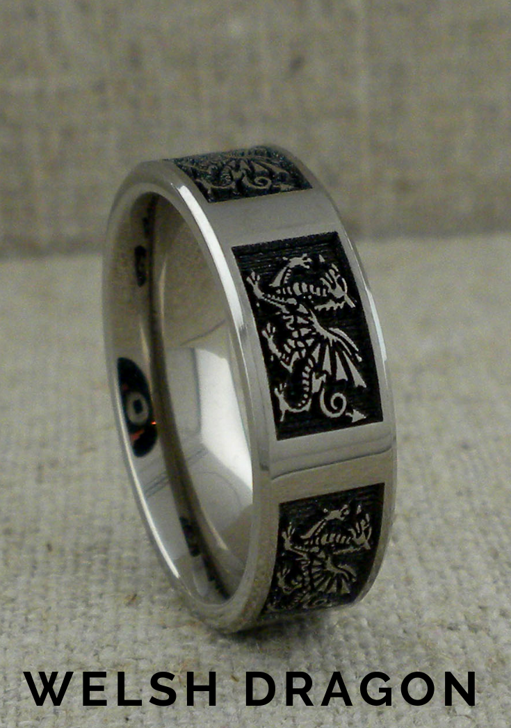 Welsh Dragon Wedding Ring in Titanium