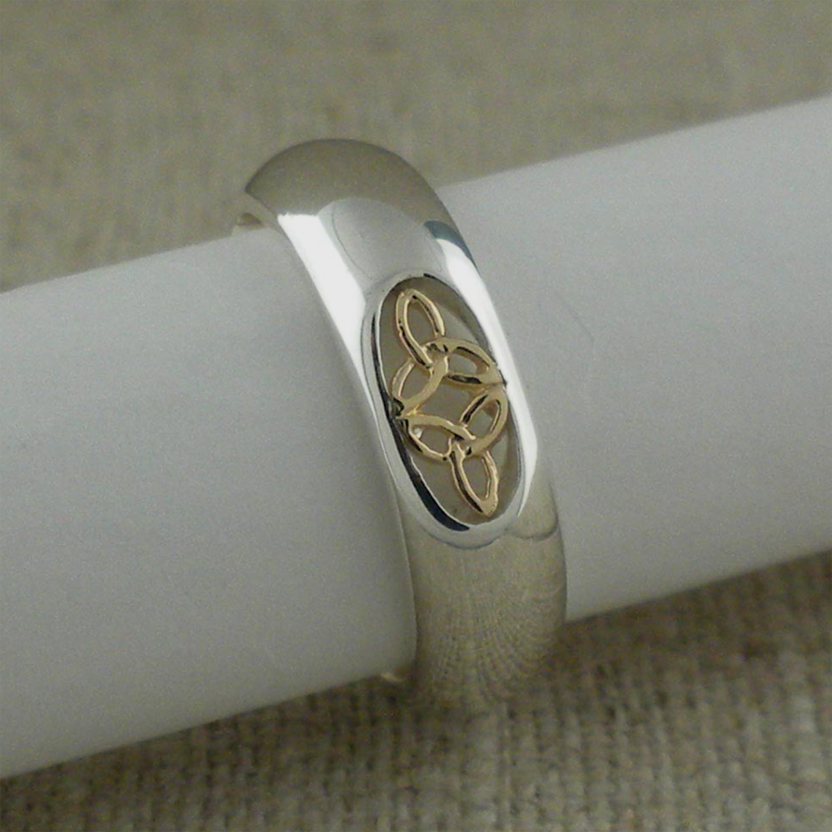 Sterling Silver & 10K Trinity Knot Wedding Ring
