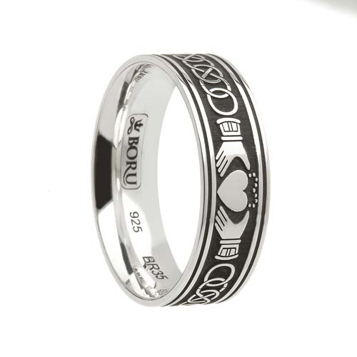 Sterling Silver Celtic Claddagh Wedding Ring