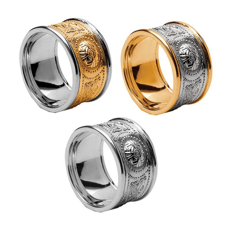 12 mm Celtic Warrior Shield Wedding Ring with Trim