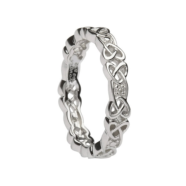 Ladies Silver Celtic Knot Wedding Ring with Diamonds