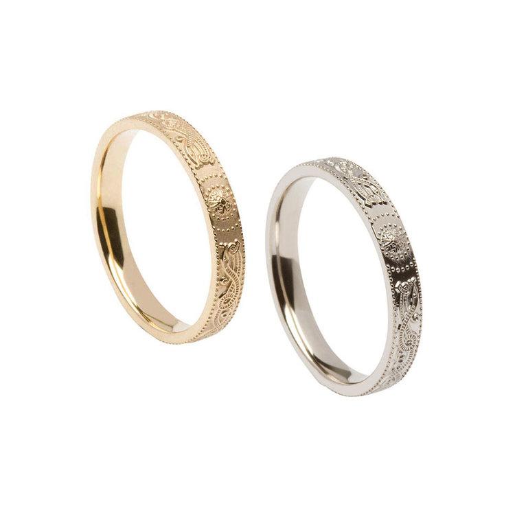 Ladies Narrow Celtic Warrior Shield Wedding Ring Comfort Fit
