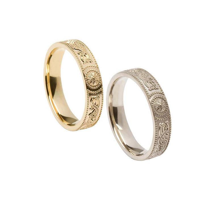Ladies Comfort Fit 4 mm Celtic Warrior Shield Wedding Ring