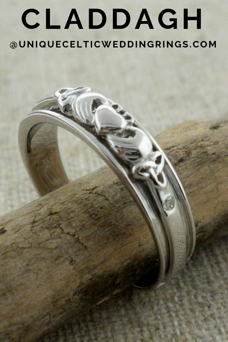 Claddagh wedding Ring in white Gold
